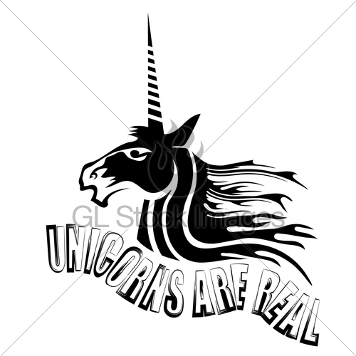500x500 Silhouette Of Magic Cute Unicorn And Lettering Gl Stock Images
