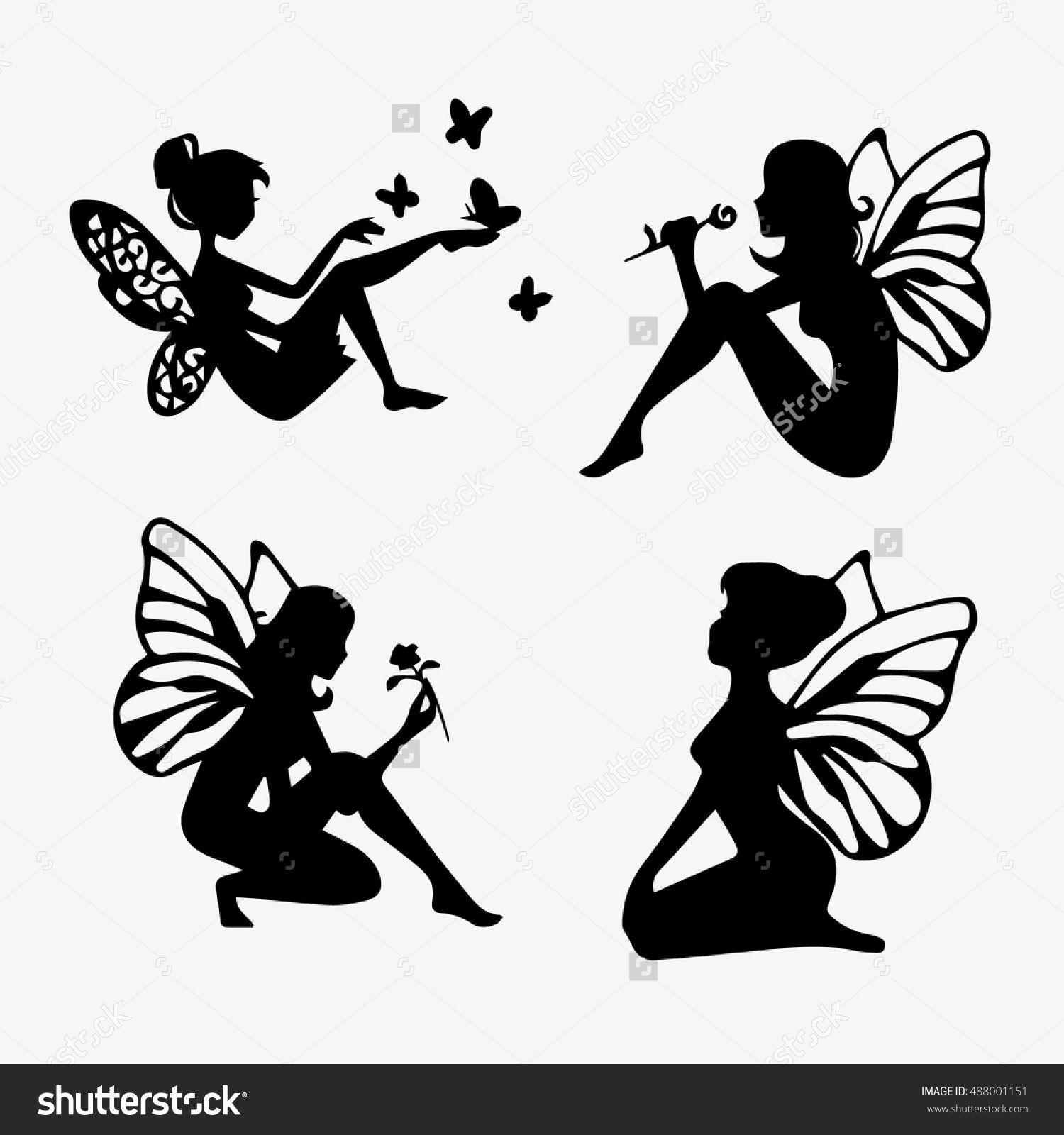 1500x1600 Cute Fairies Silhouette Collection, Little Fairies Set. Hand Drawn