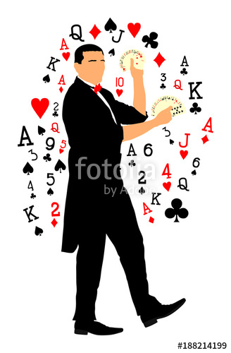 328x500 Magician Performing Trick With Cards Vector Illustration Isolated