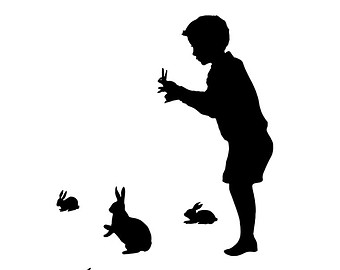 340x270 The Magician Silhouette Print Black And White Magic Rabbit
