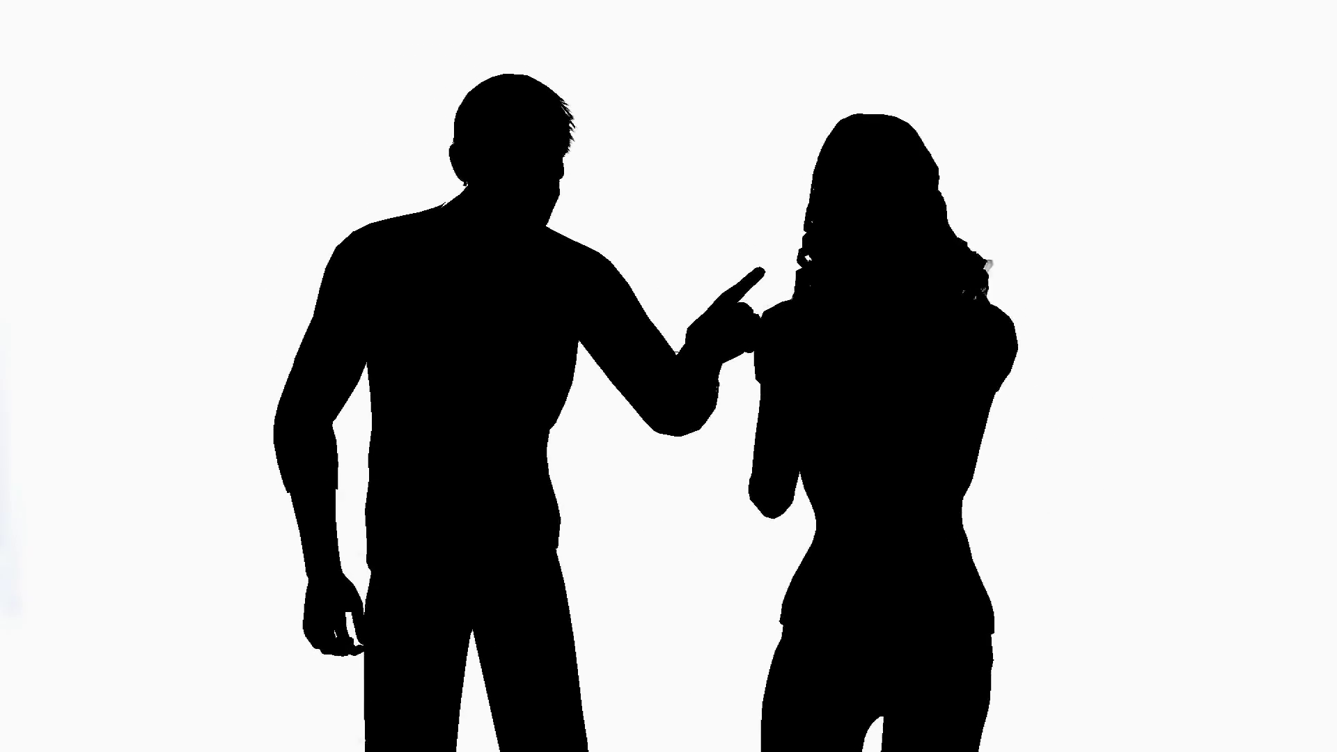 1920x1080 Man And Woman Arguing On White Background Motion Background