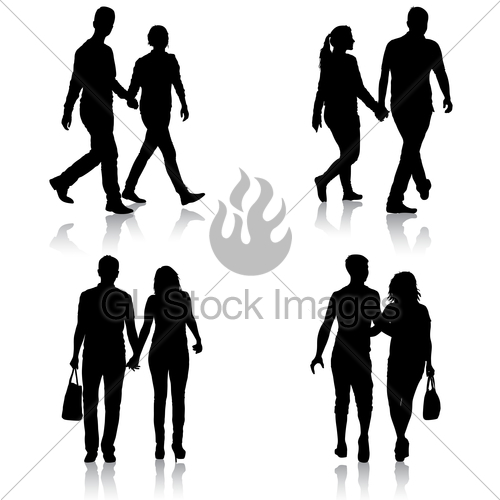 500x500 Set Silhouette Man And Woman Walking Hand In Hand Gl Stock Images