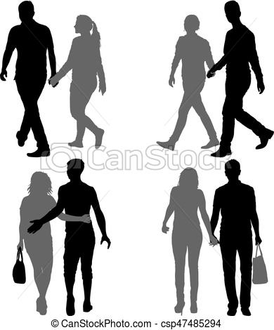 390x470 Set Silhouette Man And Woman Walking Hand In Hand. Eps Vectors