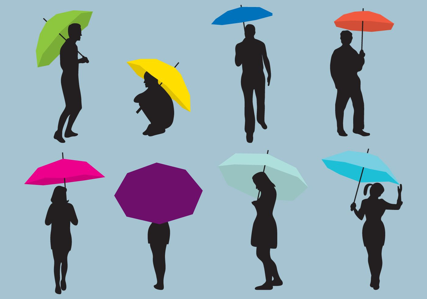 1400x980 Woman And Man Umbrellas Silhouettes Dancing Vector People