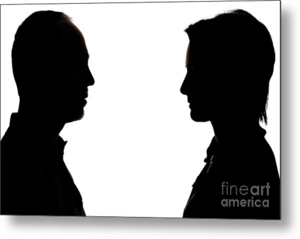 600x477 Silhouette Of Man And Woman Face To Face Photograph By Sami Sarkis