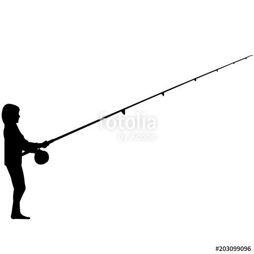 500x500 Fishing Silhouette, Man Fishing Clipart, Fisherman Vector, Svg