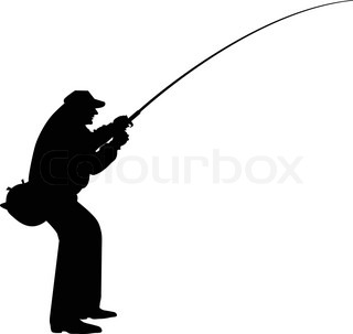 320x303 Silhouette Of A Man Fishing On Yellow Background Stock Vector