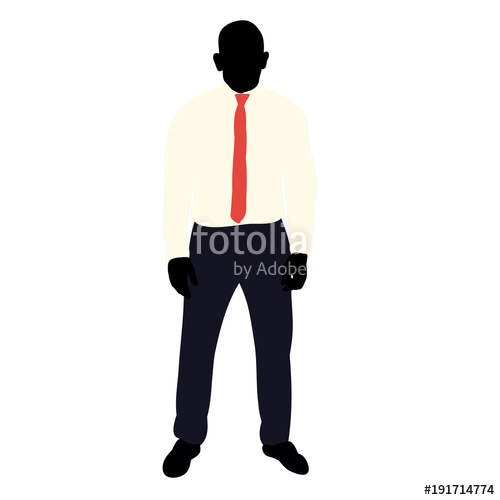 500x500 Isolated Silhouette Man In A Suit Stands On A White Background