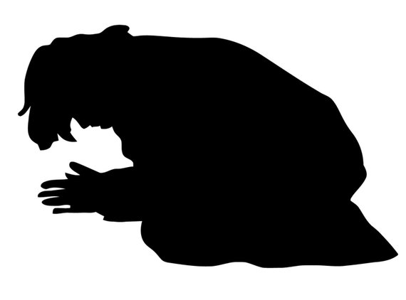 570x422 Man Praying Decal. Decal Of Praying Man Silhouette.