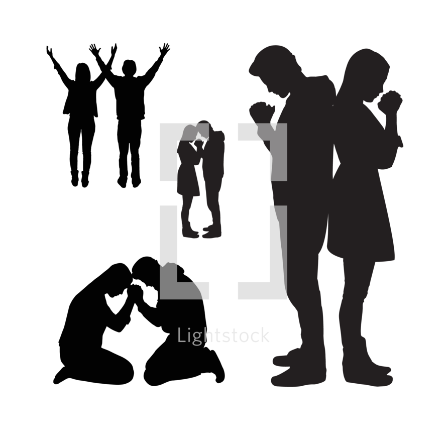 890x890 Man And Woman Praying Clipart