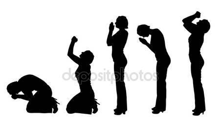 450x250 Siluetta Di Una Preghiera Delle Donne Vettoriali Stock