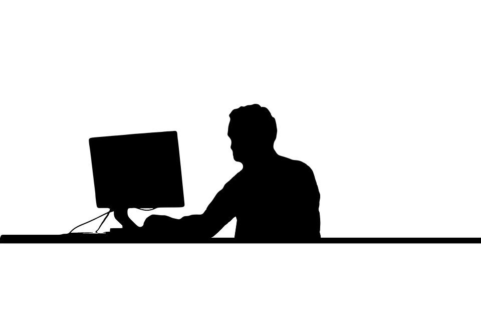960x642 Free Photo Silhouette Man Desk Computer Surf Work Monitor