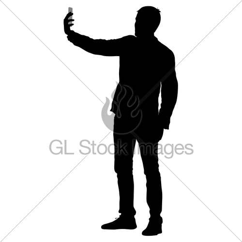 500x500 Silhouettes Man Taking Selfie With Smartphone On White Ba Gl