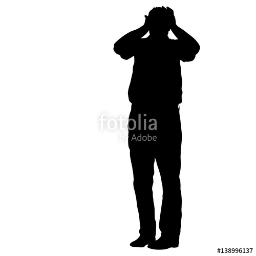 500x500 Black Silhouettes Man Holding Hands Behind His Head. Vector