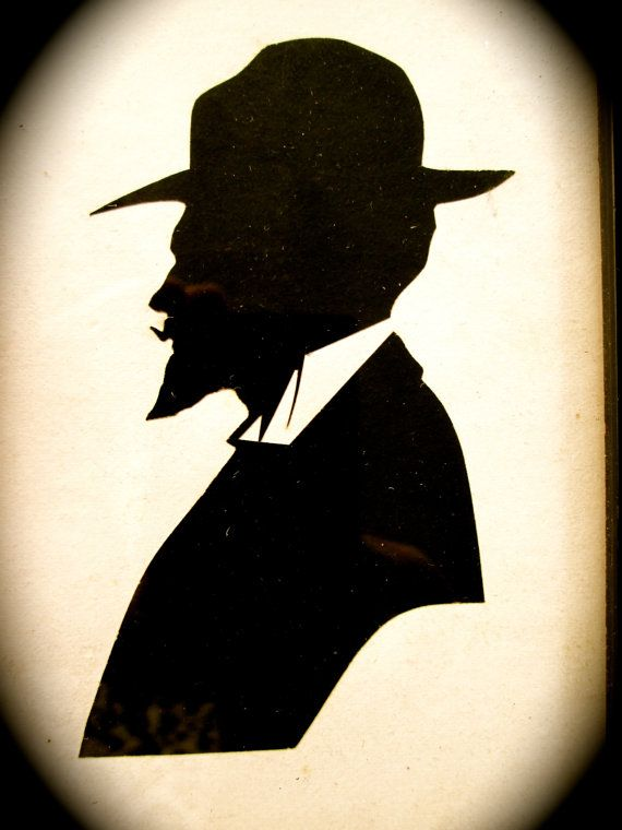 570x760 Vintage Silhouette Antique 1900s Bearded Man In Hat Portrait