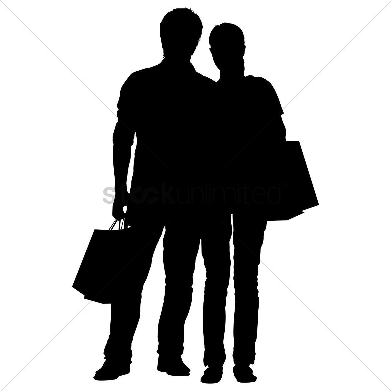 1300x1300 Silhouette Of A Man And Woman With Shopping Bags Vector Image