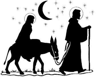336x272 Black And White Mary And Joseph Nativity Clip Art Black