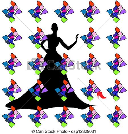 450x470 Silhouette Female Mannequin And Black Iron Hanger . Vectors