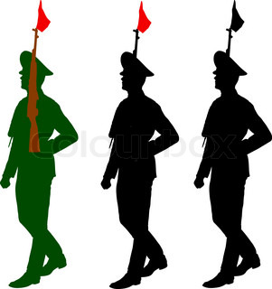 301x320 Silhouette Soldiers During A Military Parade. Vector Illustration
