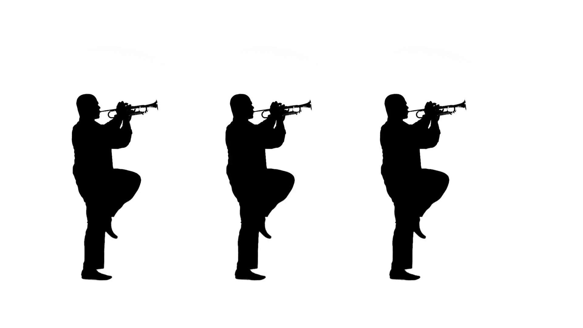 1920x1080 Three Silhouettes March On The Spots They Play Trumpet In