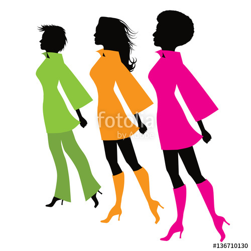 500x500 Flat Design Stylized Women Marching Silhouette With Copy Space