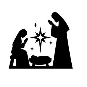 300x300 Nativity Mary Joseph Jesus Silhouette Design, Blue Christmas