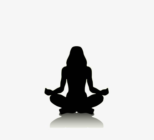 492x448 Meditating Woman Silhouette, Black, Woman, Meditate Png Image