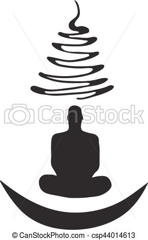 291x470 Meditation Human Silhouette Isolated On White Background Vector