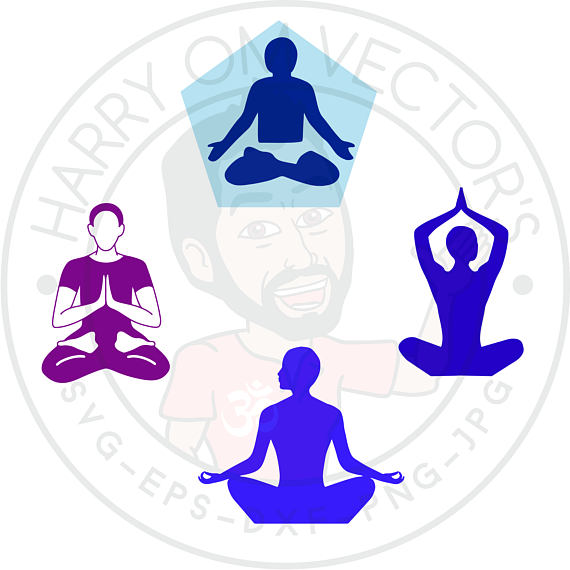 570x570 Sitting Meditation Vectors, Svg Dxf For Silhouette Cameo Or Cricut