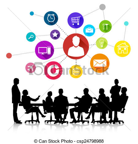450x470 Business Meeting. Group Of Business People Silhouettes