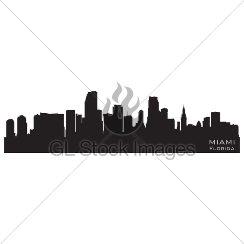 500x500 Miami, Florida Skyline. Detailed Vector Silhouette Gl Stock Images