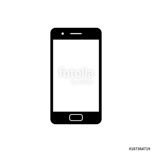 500x500 Mobile Phone Icon. Black, Minimalist Icon Isolated On White