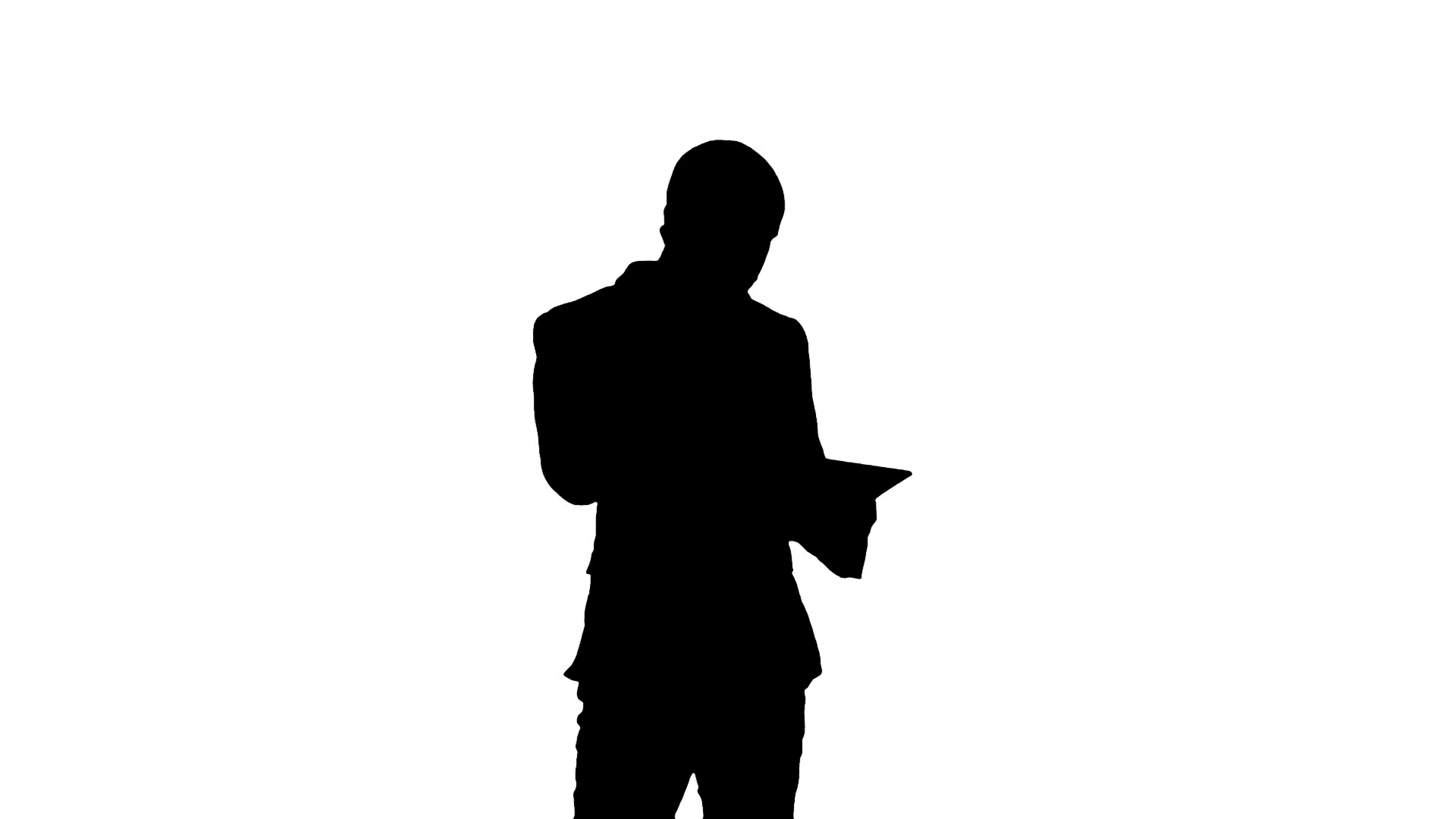 1920x1080 Silhouette Busy Man Talking On Mobile Phone And Holding Tablet Pc