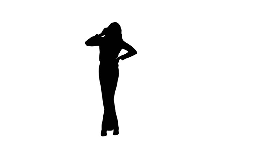 852x480 Silhouette With Phone Footage Stock Clips