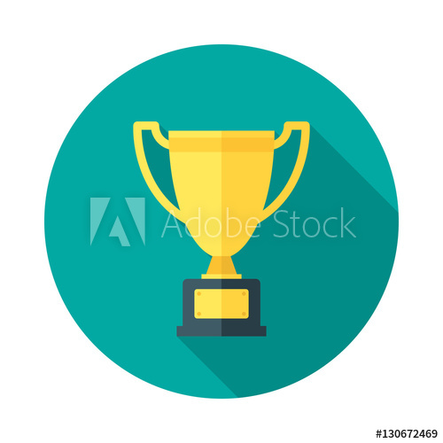 500x500 Champion Cup Icon With Long Shadow. Flat Design Style. Round Icon