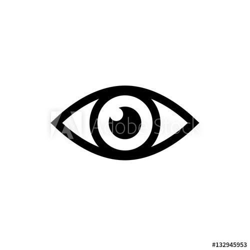 500x500 Eye Icon. Black Icon Isolated On White Background. Eye Silhouette