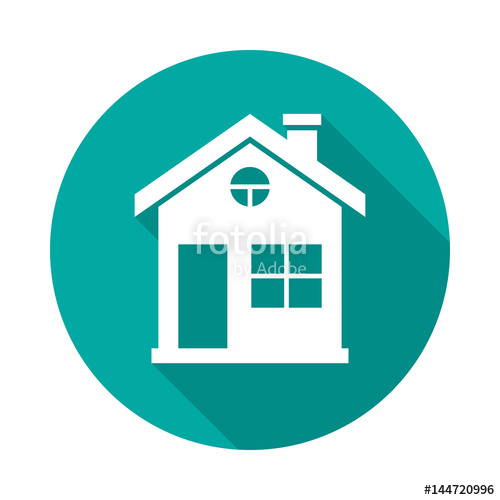 500x500 House Circle Icon With Long Shadow. Flat Design Style. House