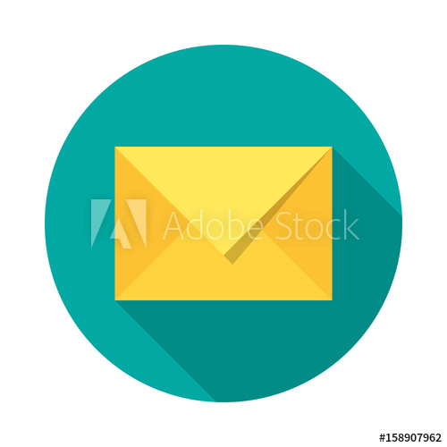 500x500 Mail Icon With Long Shadow. Flat Design Style. Round Icon. Mail