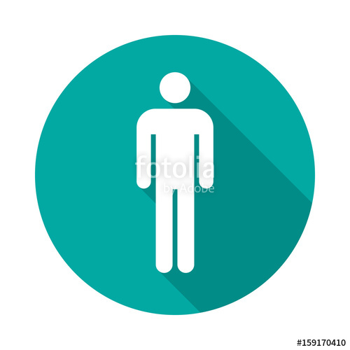 500x500 Man Circle Icon With Long Shadow. Flat Design Style. Man Simple