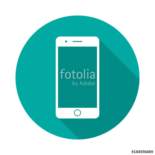 500x500 Mobile Phone Circle Icon With Long Shadow. Flat Design Style