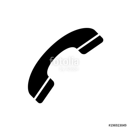 500x500 Phone Icon. Black, Minimalist Icon Isolated On White Background