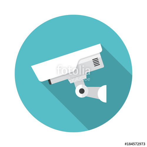 500x500 Security Camera Circle Icon With Long Shadow. Flat Design Style