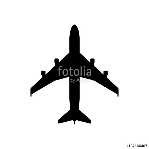 500x500 Airplane Icon. Black Icon Isolated On White Background. Airplane