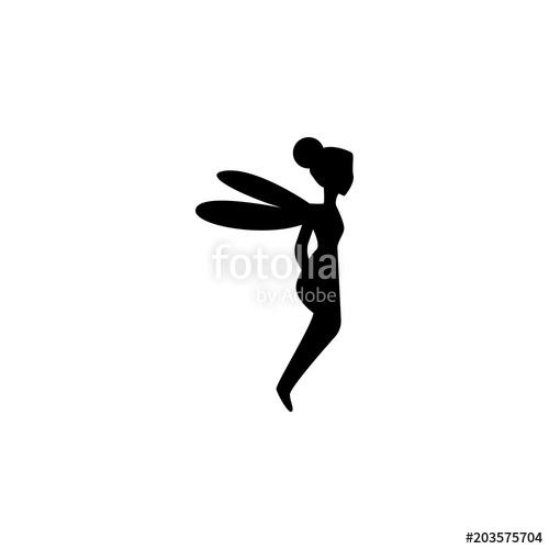 500x500 Fairy Silhouette. Element Of Fairy Tale Heroes Illustration