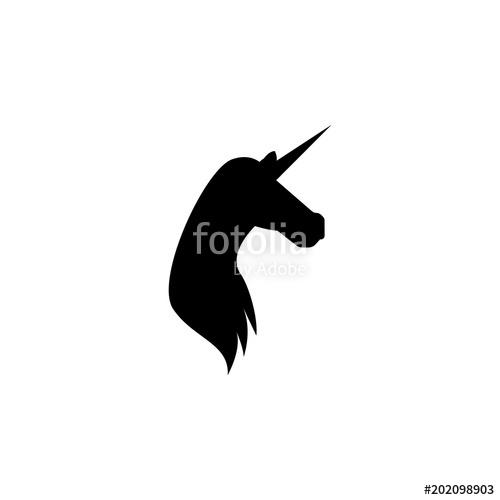 500x500 Unicorn Silhouette. Element Of Fairy Tale Heroes Illustration