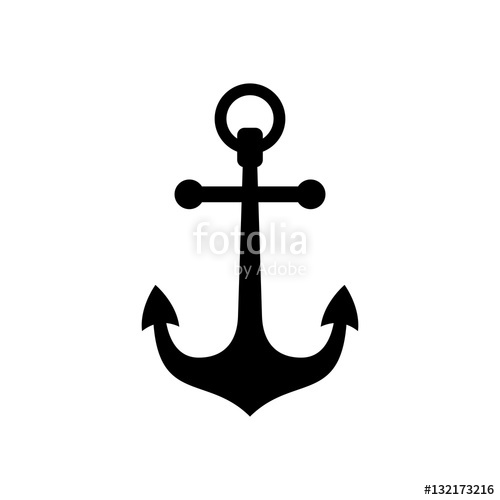 500x500 Anchor Icon. Black Icon Isolated On White Background. Anchor