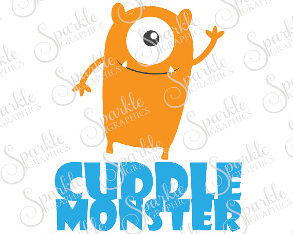 570x456 Cuddle Monster Cut Files Cute Happy Monsters Friendly Monster
