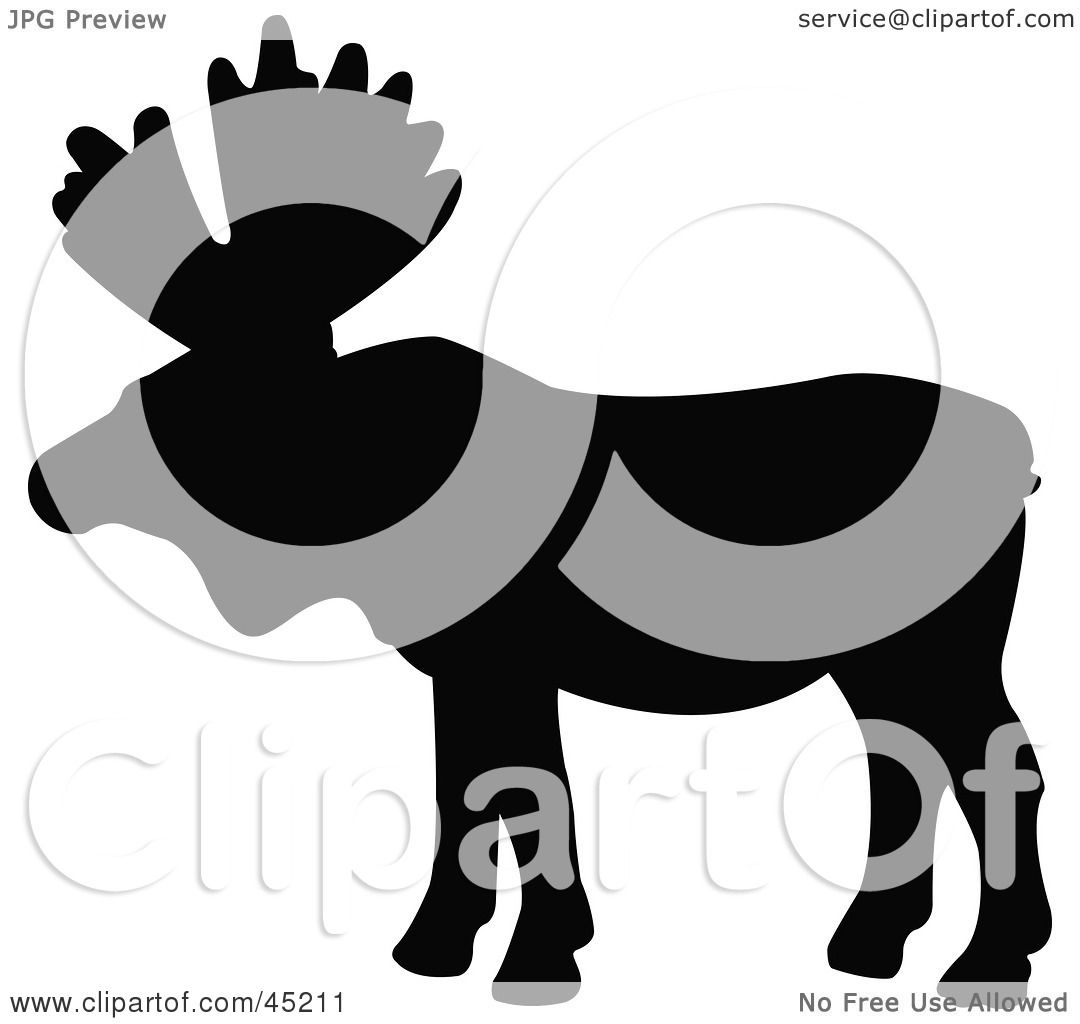 1080x1024 Royalty Free (Rf) Clipart Illustration Of A Profiled Black Moose