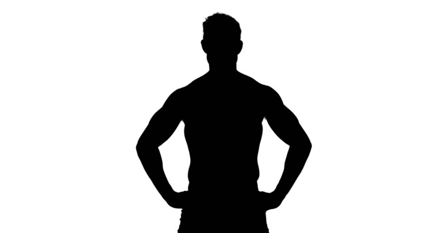 910x480 Muscular Silhouette Of Man Flexing Muscles On White Background