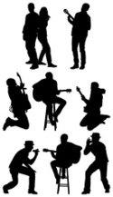 125x217 Silhouette Of Musicians Stock Vectors